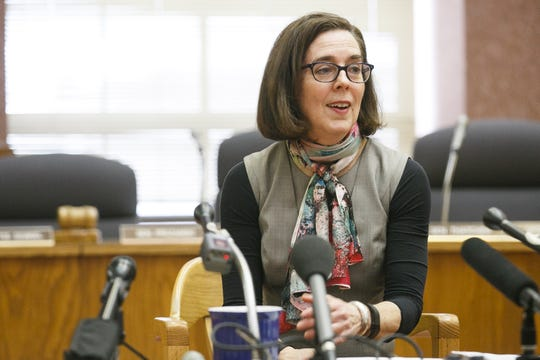 Gov. Kate Brown speaks at a media panel on Thursday, Jan. 26, 2017, about plans for the upcoming legislative season.