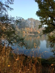Eola Bend Park offers excellent Willamette River views, especially during fall foliage.