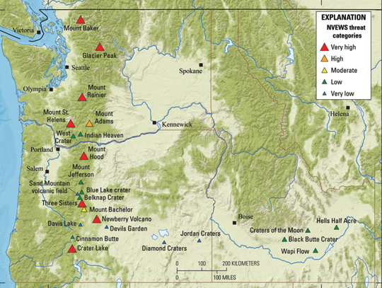 Active and potentially active volcanoes across Oregon and Washington.