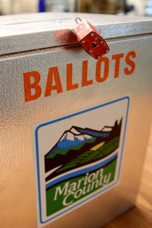 A ballot box at the Marion County Elections Office in Salem on Thursday, Oct. 25, 2018.