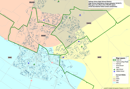 The new Salinas Union High School District map, with green lines outlining new boundary lines and color-shaded areas denoting old lines. Rancho San Juan High School is at the top of the image.