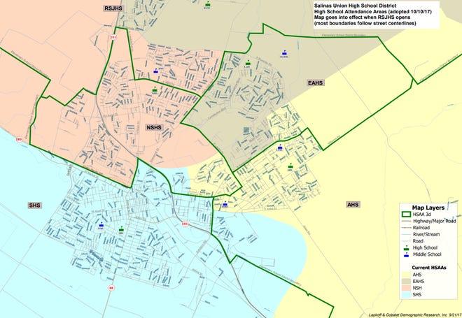 Nuevo mapa del Distrito de Preparatorias Salinas Union, con líneas verdes para delinear los límites nuevos y áreas de colores que denotan los límites antiguos. La preparatoria Rancho San Juan se encuentra en la parte superior de la imagen.