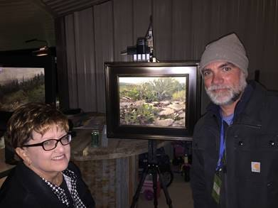 Linda Gober, sponsor of the Texas Artists Camp Award with award-winner Patrick Saunders Monday, Oct. 22, 2018, at Door Key Ranch.