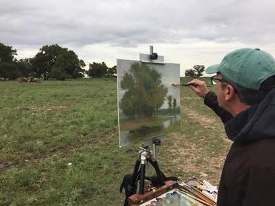 Joseph Gyurcsak of New Jersey paints during EnPleinAirTEXAS Monday, Oct. 22, 2018, at the Door Key Ranch.