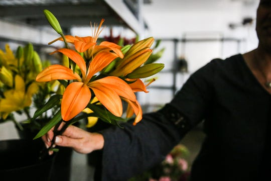 Christi Yancey picks flowers for an arrangement Tuesday, Oct. 23, 2018, at Friendly Flower Shop.