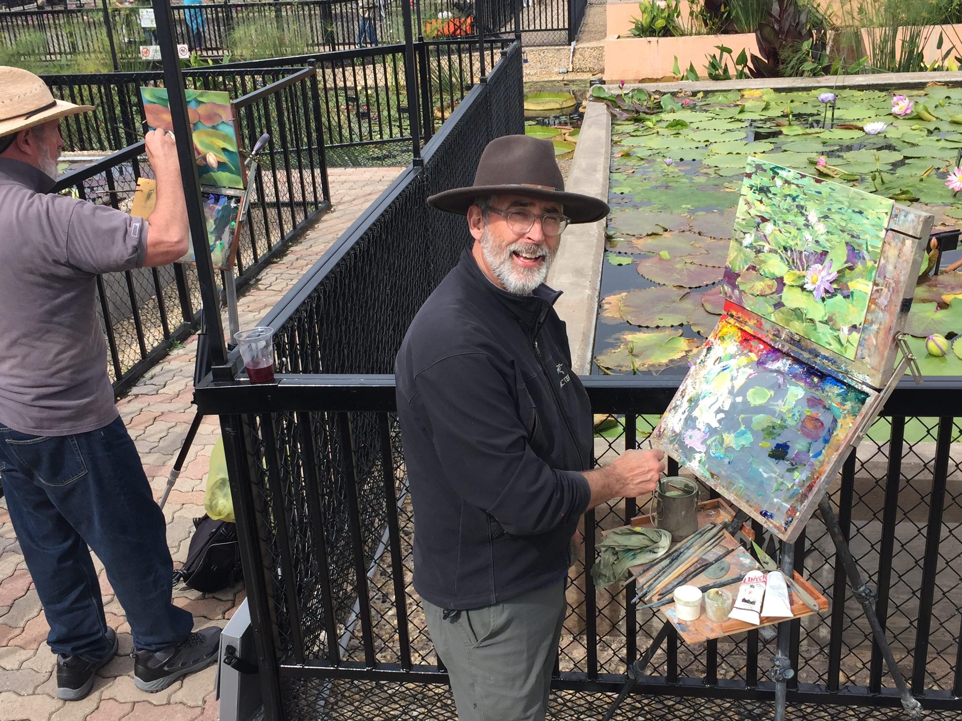 Thomas Jefferson Kitts paints during EnPleinAirTEXAS Tuesday, Oct. 23, 2018, at the International Waterlily Collection in the Civic League Park.