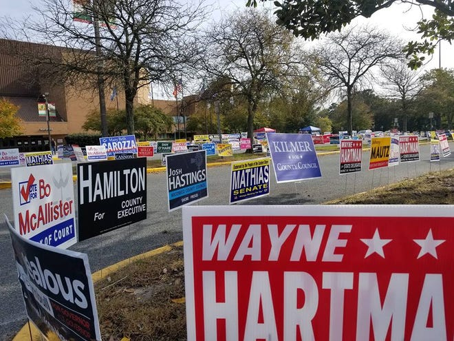 Campaign signs line the sidewalks outside the Wicomico Youth & Civic Center in Salisbury for the first day of early voting on Thursday, Oct. 25, 2018.