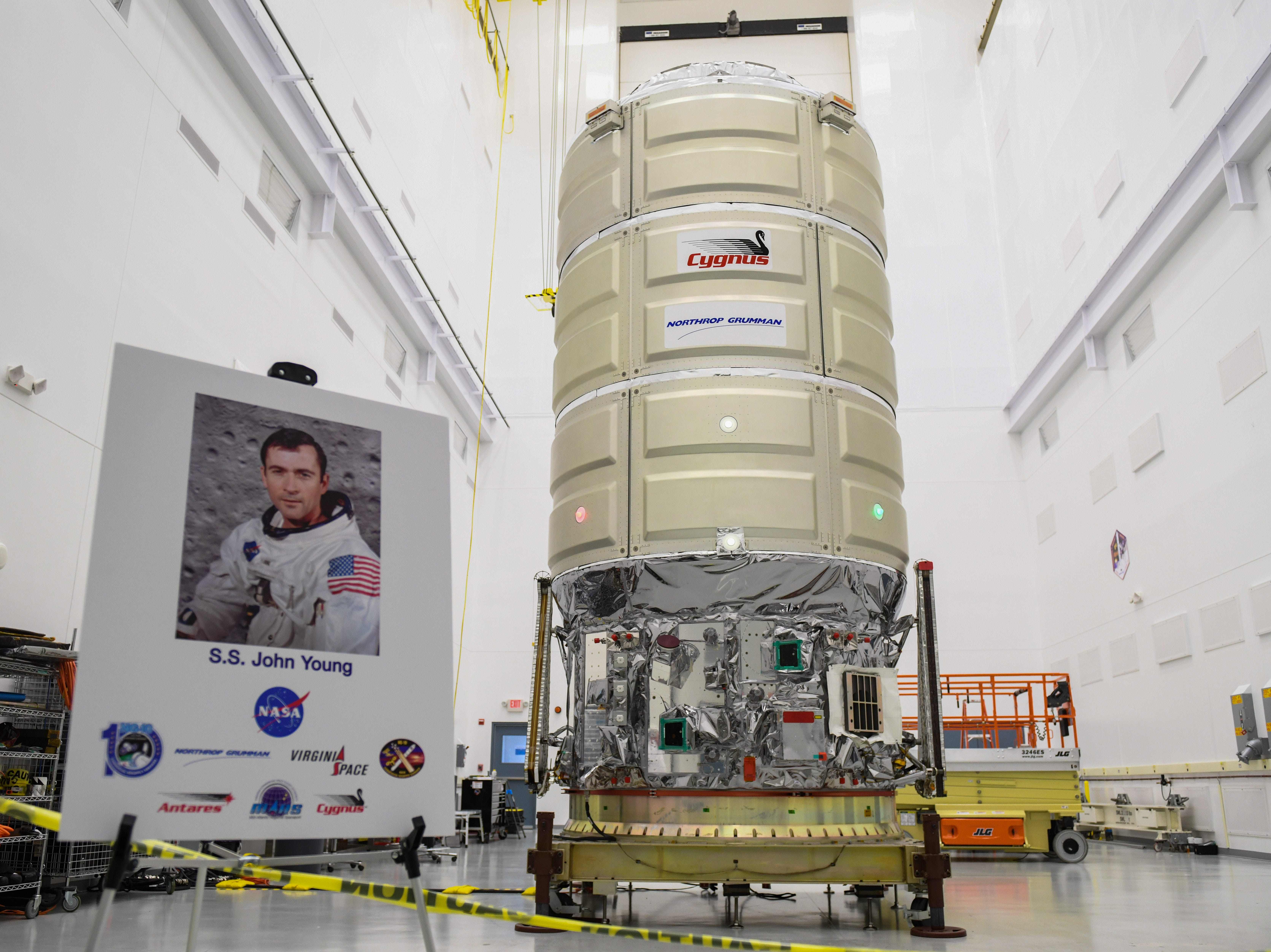 The new Cygnus spacecraft is revealed Wednesday, Oct 24, 2018. The unmanned craft is planned to launch Nov. 15 on a resupply mission for the International Space Station.