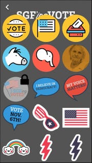 Much like Snapchat, the new SGFing Vote app allows users to create profile photos and decorate them with stickers.