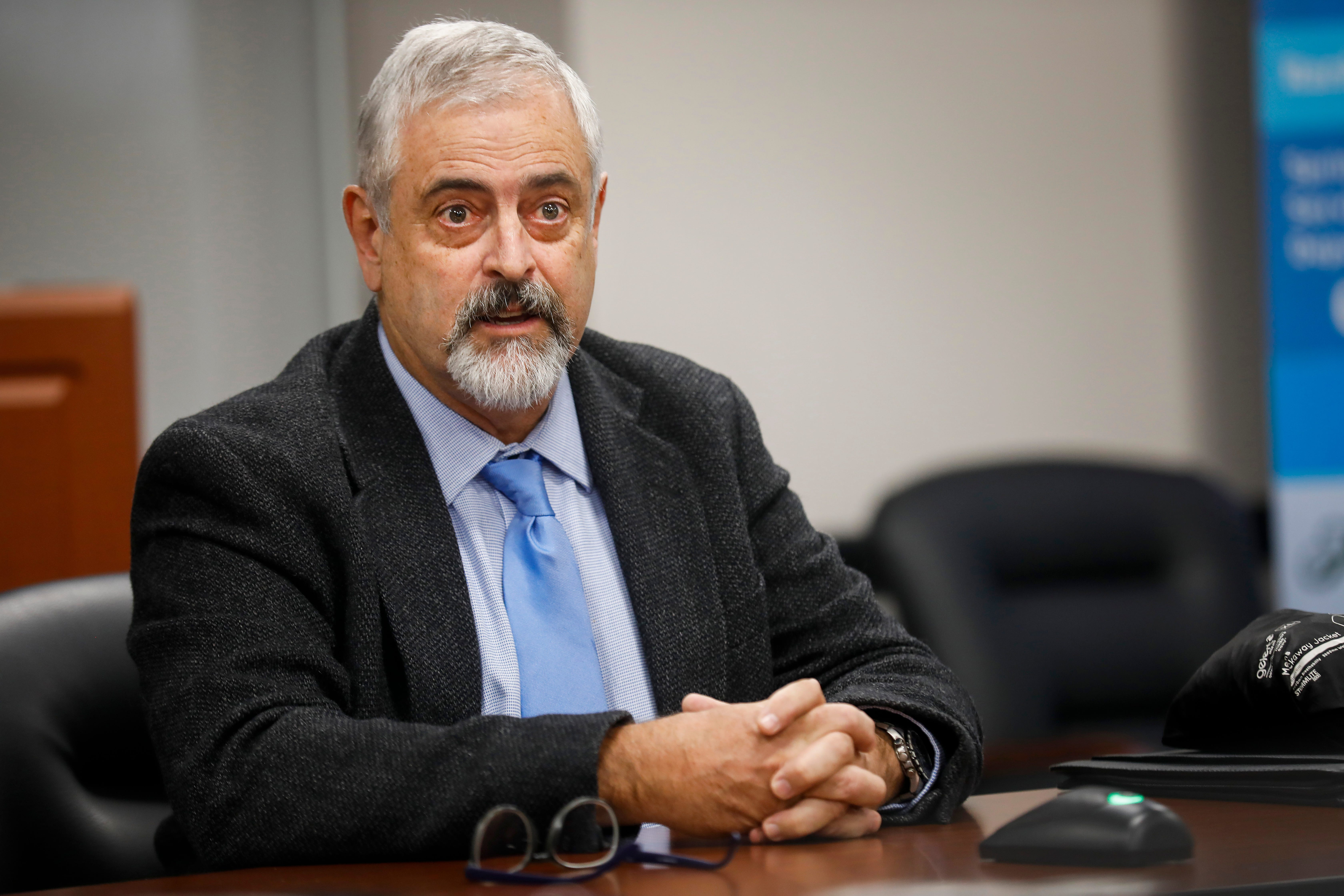 Kevin Evans speaks during an interview for the vacant seat on the Springfield City Council on the council on Thursday, Oct. 10, 2018.