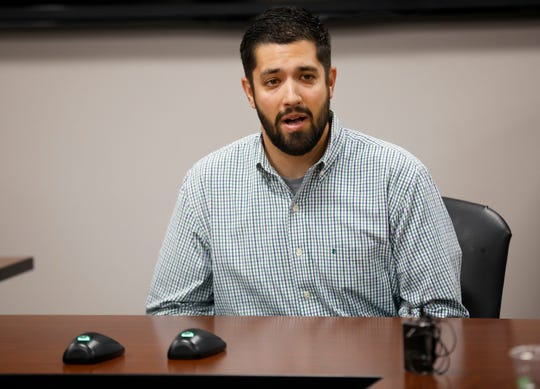 AJ Exner speaks during an interview for the vacant seat on the Springfield City Council on the council on Thursday, Oct. 10, 2018.