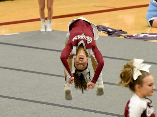 Stuarts Draft's competition cheer team competes in the Region 2B Cheer Championships held in Stuarts Draft on Wednesday, Oct. 24. 2018.