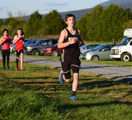 Buffalo Gap's Jesse Abshire competes in the boys race at the Shenandoah District Cross Country Championships on Wednesday, Oct. 24, 2018, at New Market Battlefield Park in New Market, Va.