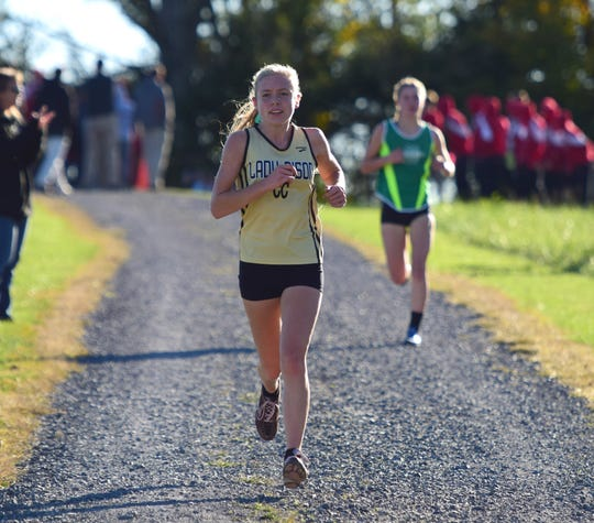 Buffalo Gap's Annika Fisher competes in the opening stages of the girls race at the Shenandoah District Cross Country Championships on Wednesday, Oct. 24, 2018, at New Market Battlefield Park in New Market, Va.