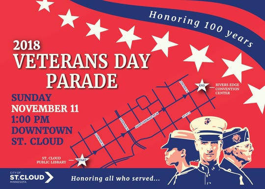 The 2018 Veterans Day Parade will be in downtown St. Cloud along St. Germain Street.