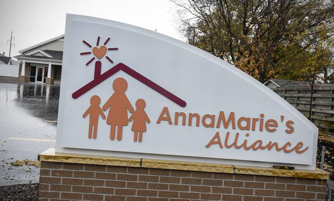 A sign marks the entrance to the new Anna Marie's Alliance Center for Family Peace in St. Cloud.