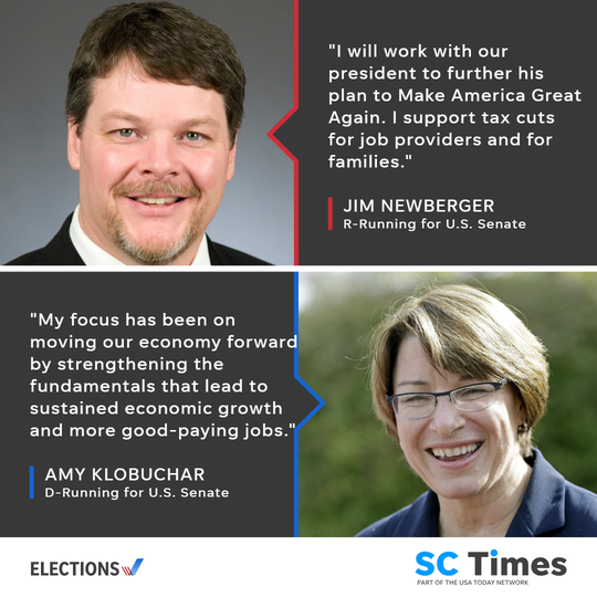 U.S. Senate candidates Jim Newberger and Amy Klobuchar share what they would do with the economy if elected in 2018.