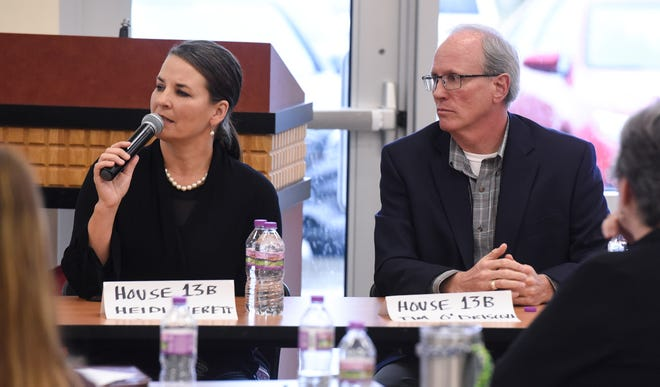 Minnesota House District 13B candidates Tim O'Driscoll and Heidi Everett take part in an election forum held by the St. Cloud Area Chamber of Commerce Thursday, Oct. 25, at the Sauk Rapids Government Center.