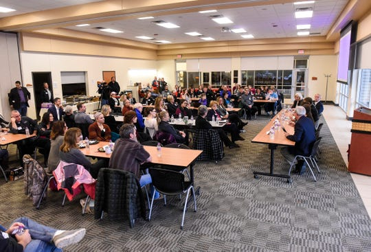 People gather for an election forum held by the St. Cloud Area Chamber of Commerce Thursday, Oct. 25, at the Sauk Rapids Government Center.