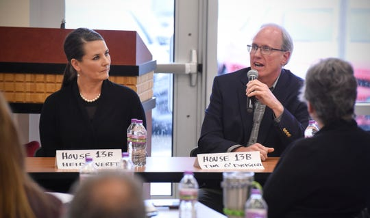 Minnesota House District 13B candidates Tim O'Driscoll and Heidi Everett answer questions during an election forum held by the St. Cloud Area Chamber of Commerce Thursday, Oct. 25, at the Sauk Rapids Government Center.