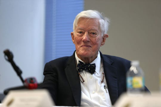 "Talbot ""Sandy"" D'Alemberte, former President of Florida State University, speaks at a lecture as part of Joe Cresse Ethics in Government Lecture Series in 2018."