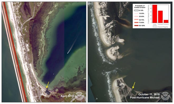 A narrow strip of land on Cape San Blas was completely washed away by Hurricane Michael, cutting off the only road to St. Joseph Peninsula State Park.