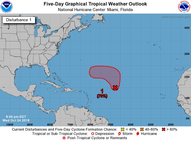 A large area of disturbed weather over the Central Atlantic has a 70 percent chance of developing into a named storm over the next five days.