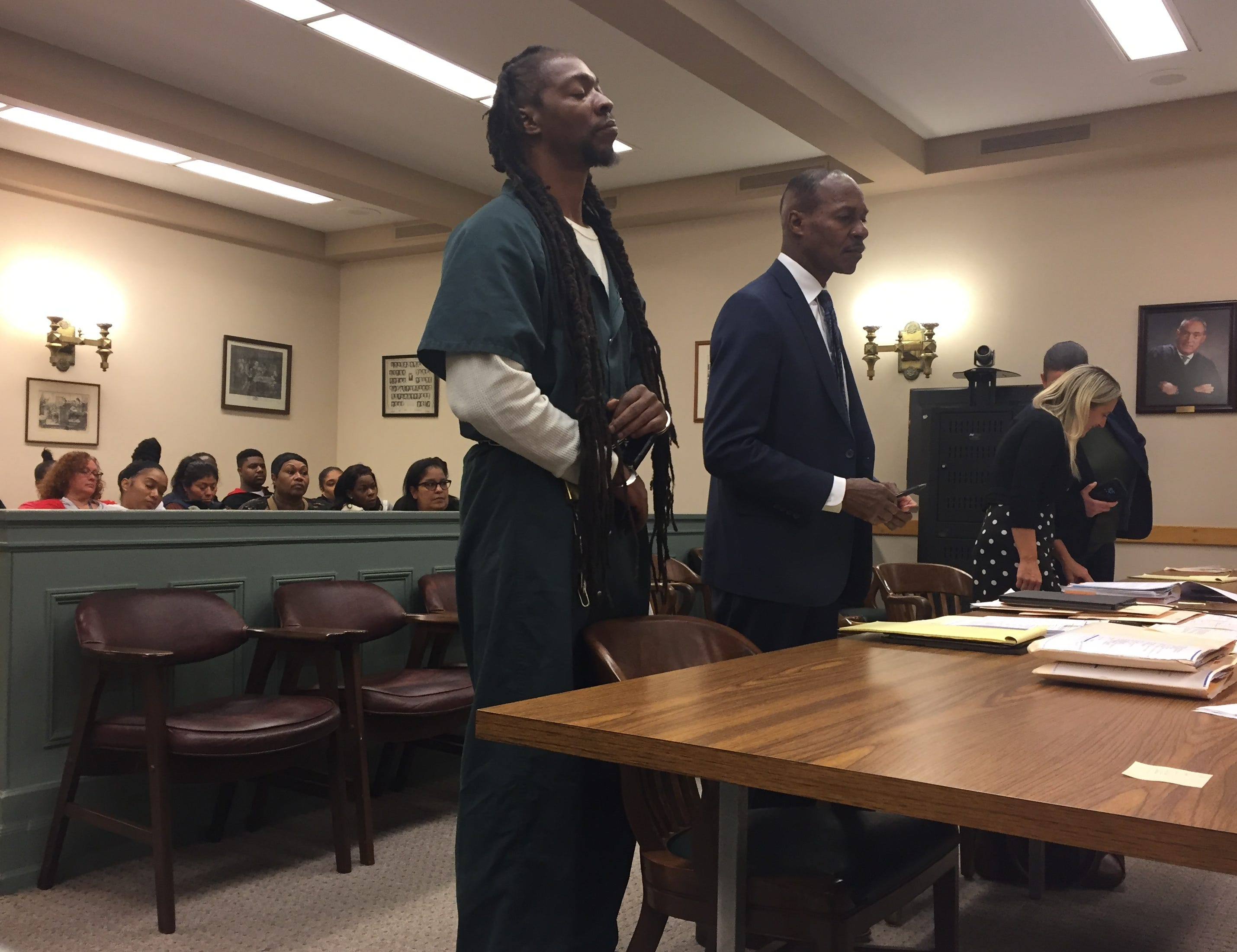 Murder co-defendant Eugene Cosby (left), 42, of Franklin Township with defense attorney Wayne Powell at his detention hearing in Cumberland County Superior Court last year. Cosby returned to Essex County Jail after not contesting his commitment. County Assistant Prsoecutor Elizabeth Vogelsong (right) represented the state.