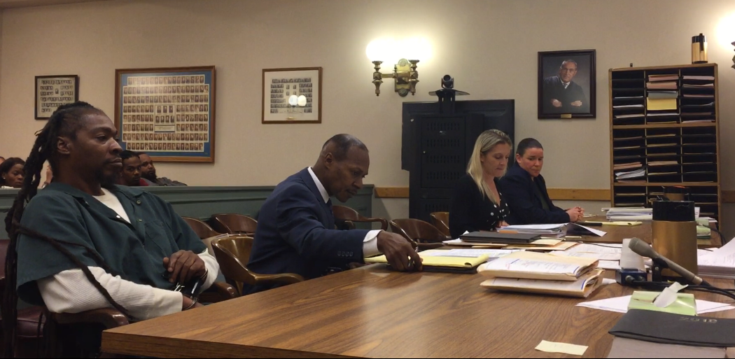 A detention hearing was held Thursday in Cumberland County Superior Court for murder suspect Eugene Cosby (left), sitting next to defense attorney Wayne Powell. Cosby was ordered back to jail. County Assistant Prosecutors Elizabeth Vogelsong and Lesley Snock (left, right) sit opposite.