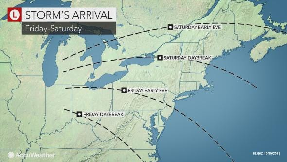 A coastal storm is expected to bring heavy rain and strong winds into the Lower Hudson Valley Friday night into Saturday morning.