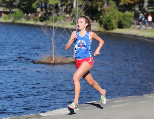 Pearl River's Mary Borkoski runs the Rockland County Cross Country Championships at Bear Mountain State Park in Stony Point on Thursday, October 25, 2018.