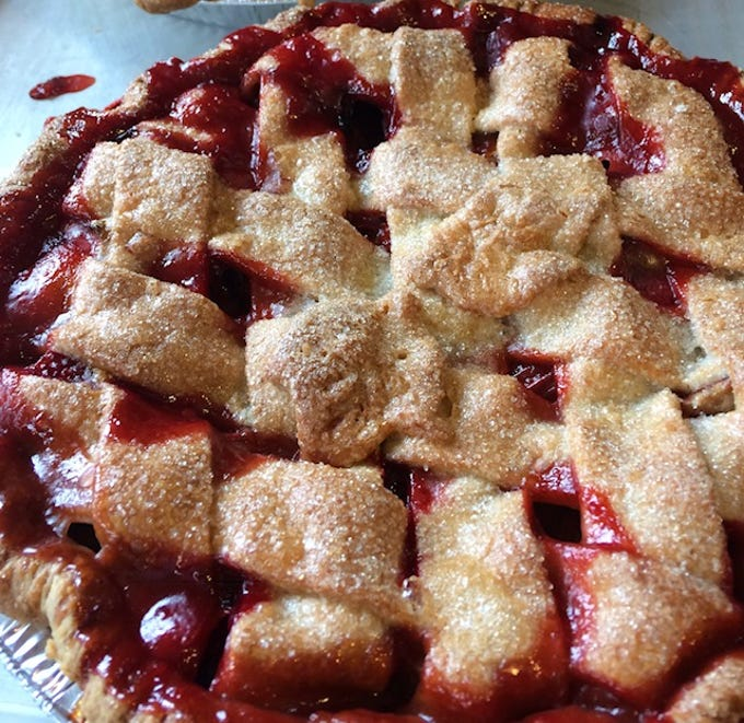 Red Barn Bakery in Irvington makes both regular and gluten-free pies. Cherry is pictured here.