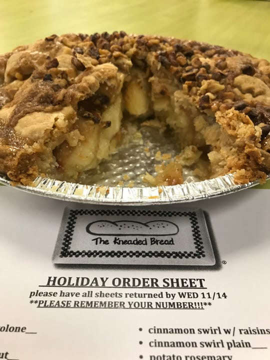 Apple Caramel Walnut pie from The Kneaded Bread. Now's the time to order for Thanksgiving.