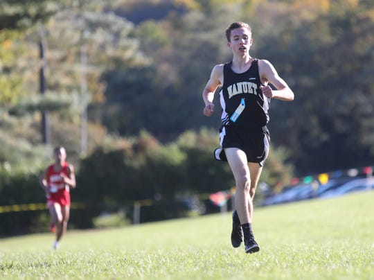 Nanuet's Ryan Guerci wins the boys  Rockland County Cross Country Championships at Bear Mountain State Park on Oct. 25.