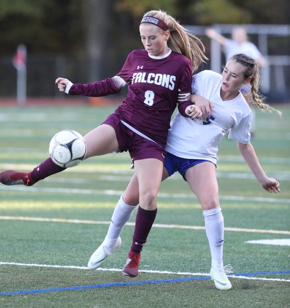 Pearl River's Kylie McNally (5) and Julianna Hanigan (8) of Albertus Magnus battle for control of the ball during Section 1 Class A girls soccer semifinals at Albertus Magnus High School in Bardonia on Oct. 25, 2018. Pearl River defeats Albertus Magnus 1-0.
