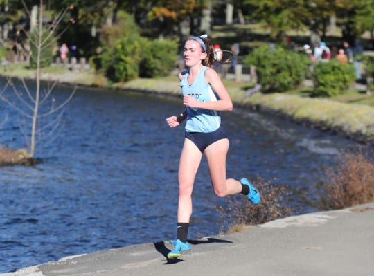 Suffern's Mary Hennelly during the 2018 Rockland County Cross-Country Championships at Bear Mountain State Park