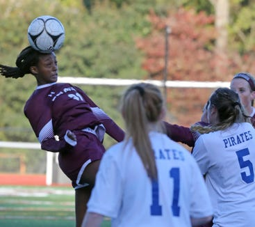 Mihret Smith (21) of Albertus Magnus pushes the ball up the field during Section 1 Class A girls soccer semifinals at Albertus Magnus High School in Bardonia on Oct. 25, 2018. Pearl River defeats Albertus Magnus 1-0.
