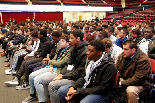 Several hundred students from the lower Hudson Valley attended the My Brother's Keeper Youth Leadership Summit at the Westchester County Center in White Plains on Oct. 25, 2018.