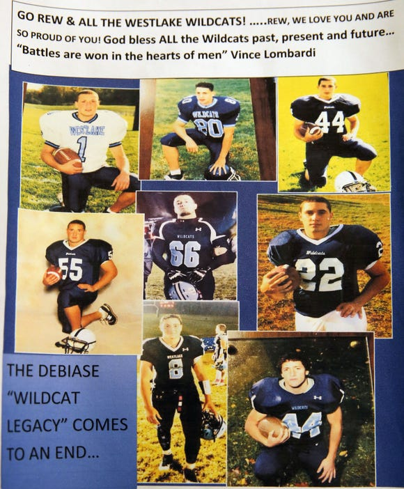 A photomontage that Kathy DeBiase made of her eight sons, all who played football at Westlake Oct. 24, 2018.