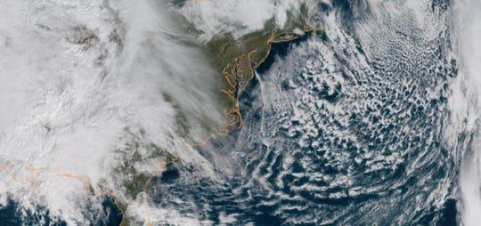 Cloud cover over the East Coast Thursday.