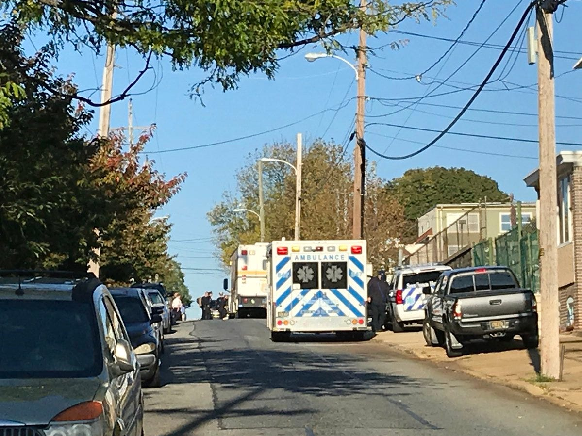 The police bomb disposal unit is set up near the back of the post office on Lancaster Avenue in Wilmington.