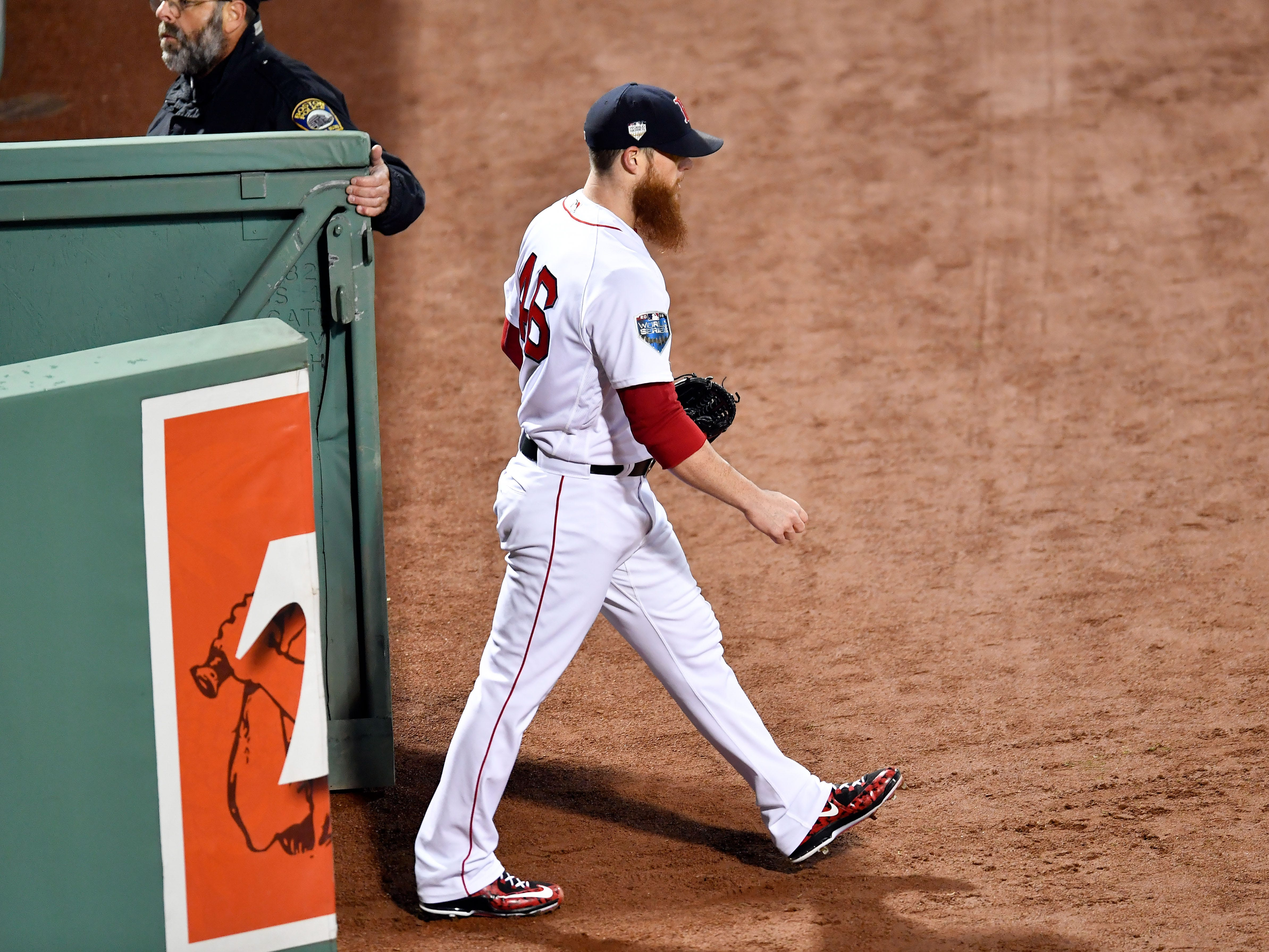 Game 2 at Fenway Park: Red Sox closer Craig Kimbrel walks out of the bullpen for the ninth inning.