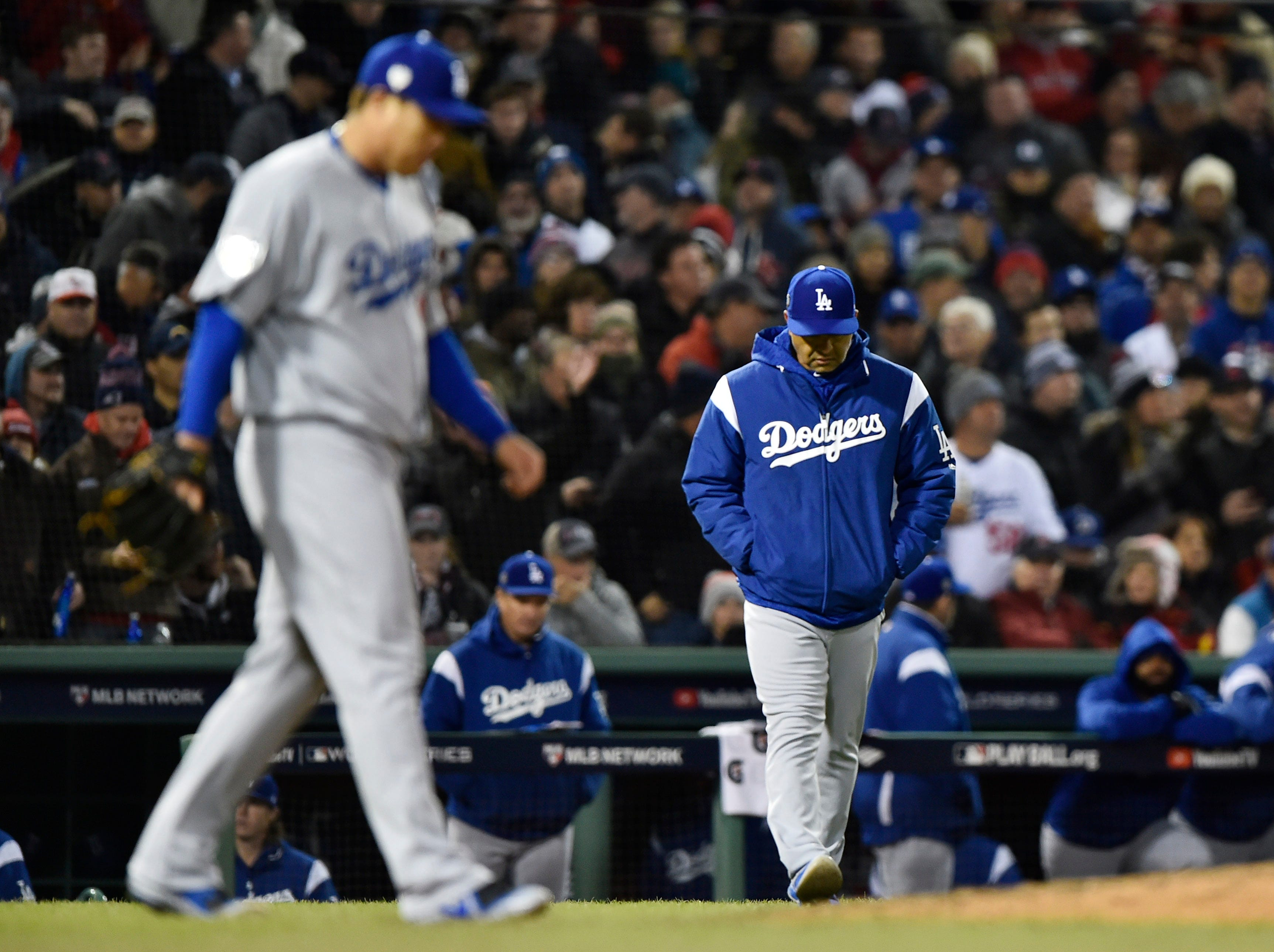 Game 2 at Fenway Park: Dodgers manager Dave Roberts comes out to relieve Hyun-Jin Ryu in the fifth.