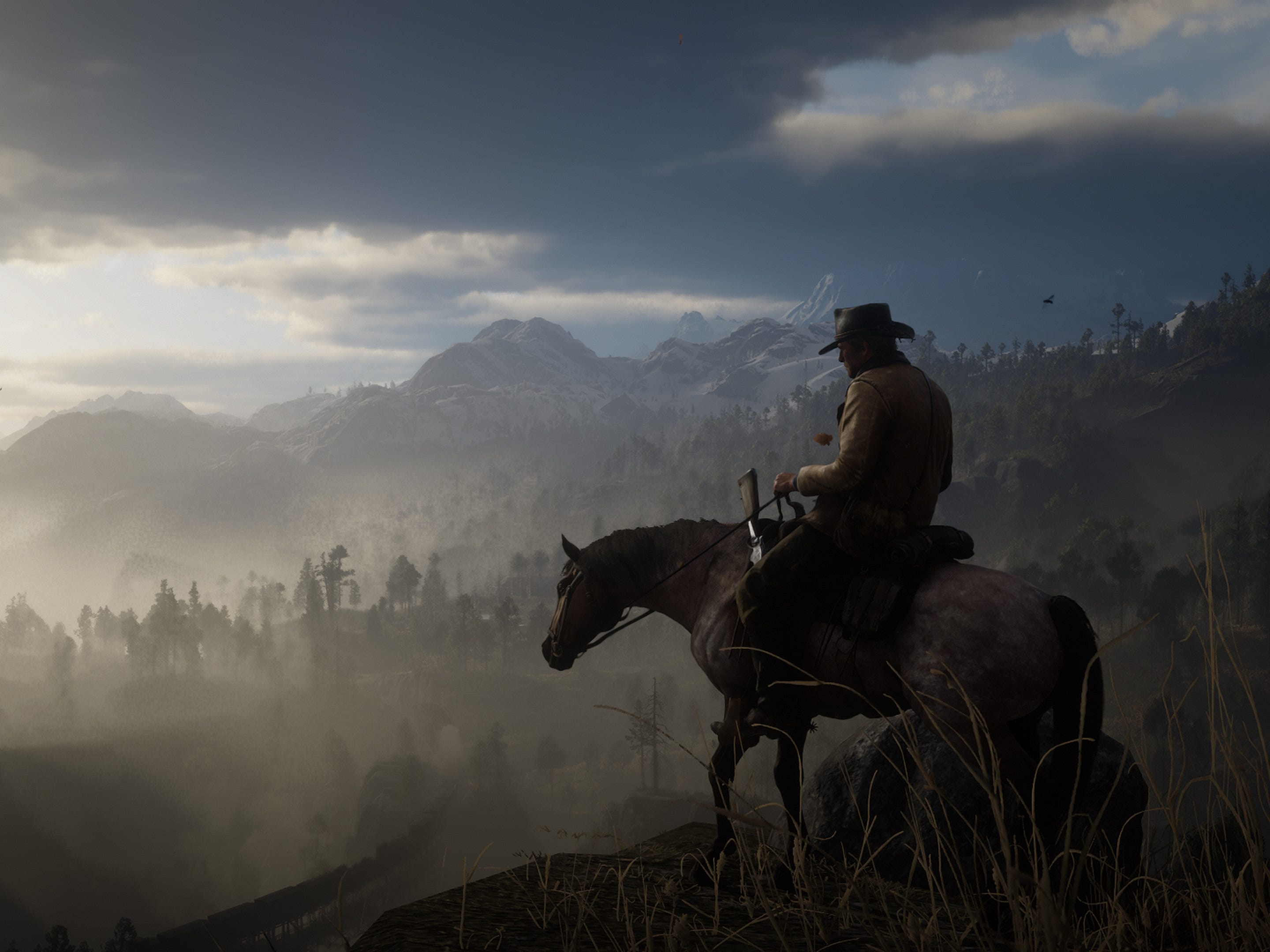 In 'Red Dead Redemption 2,' you can see the game through a traditional third-person point of view, or opt for first-person. Sometimes, you may want to check out the cinematic option to check out the view.