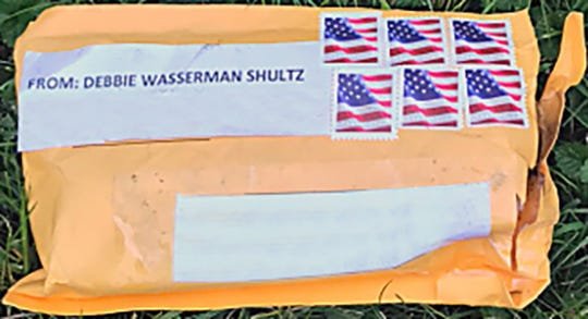 A handout photo made available by the Federal Bureau of Investigation (FBI) on shows the exterior of one of the suspicious packages which were received at multiple locations in the New York and Washington, D.C., areas and Florida between October 22 and 24, 2018.