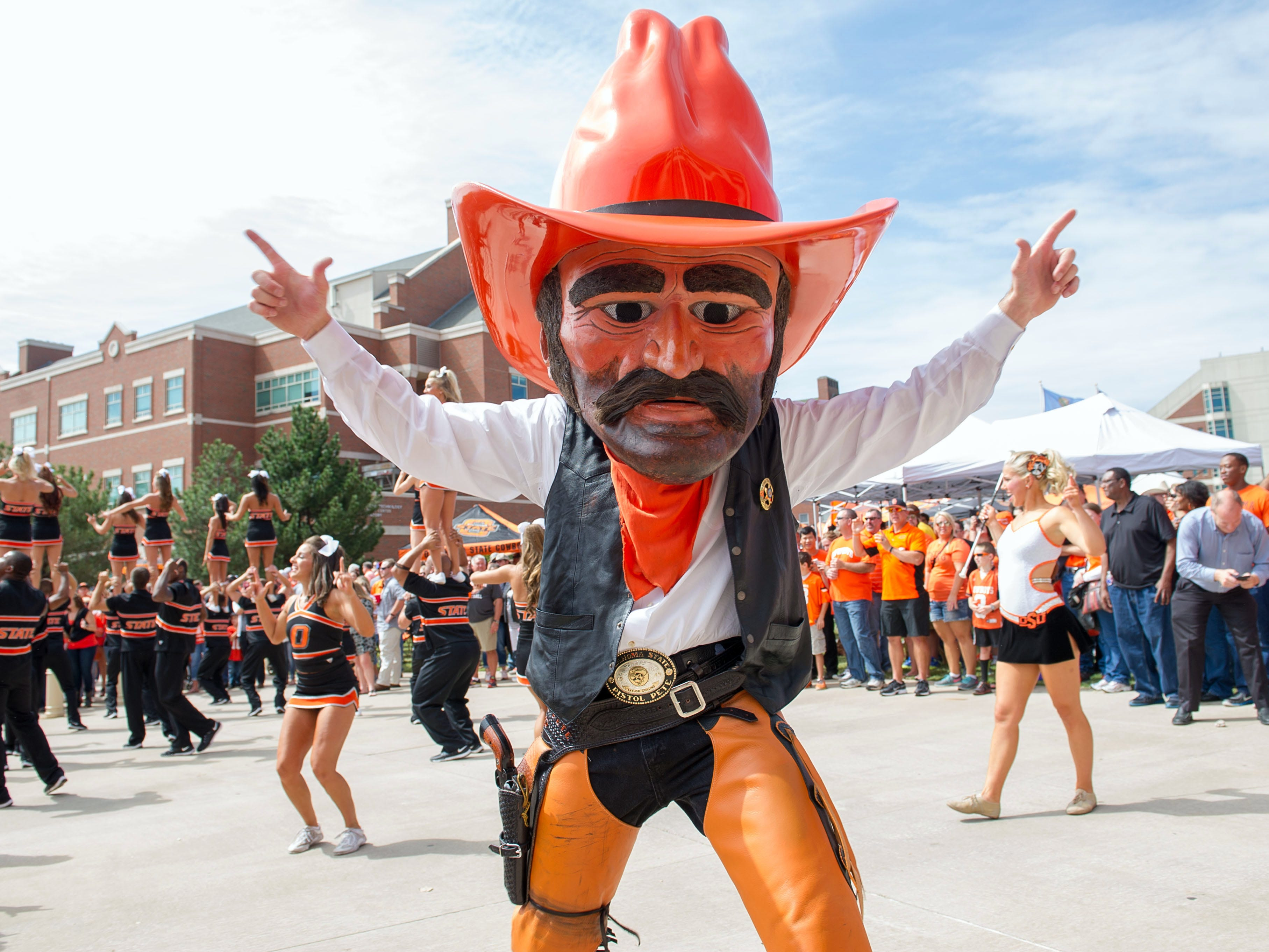 Oklahoma State's Pistol Pete. This guy ain't shaved in three days.