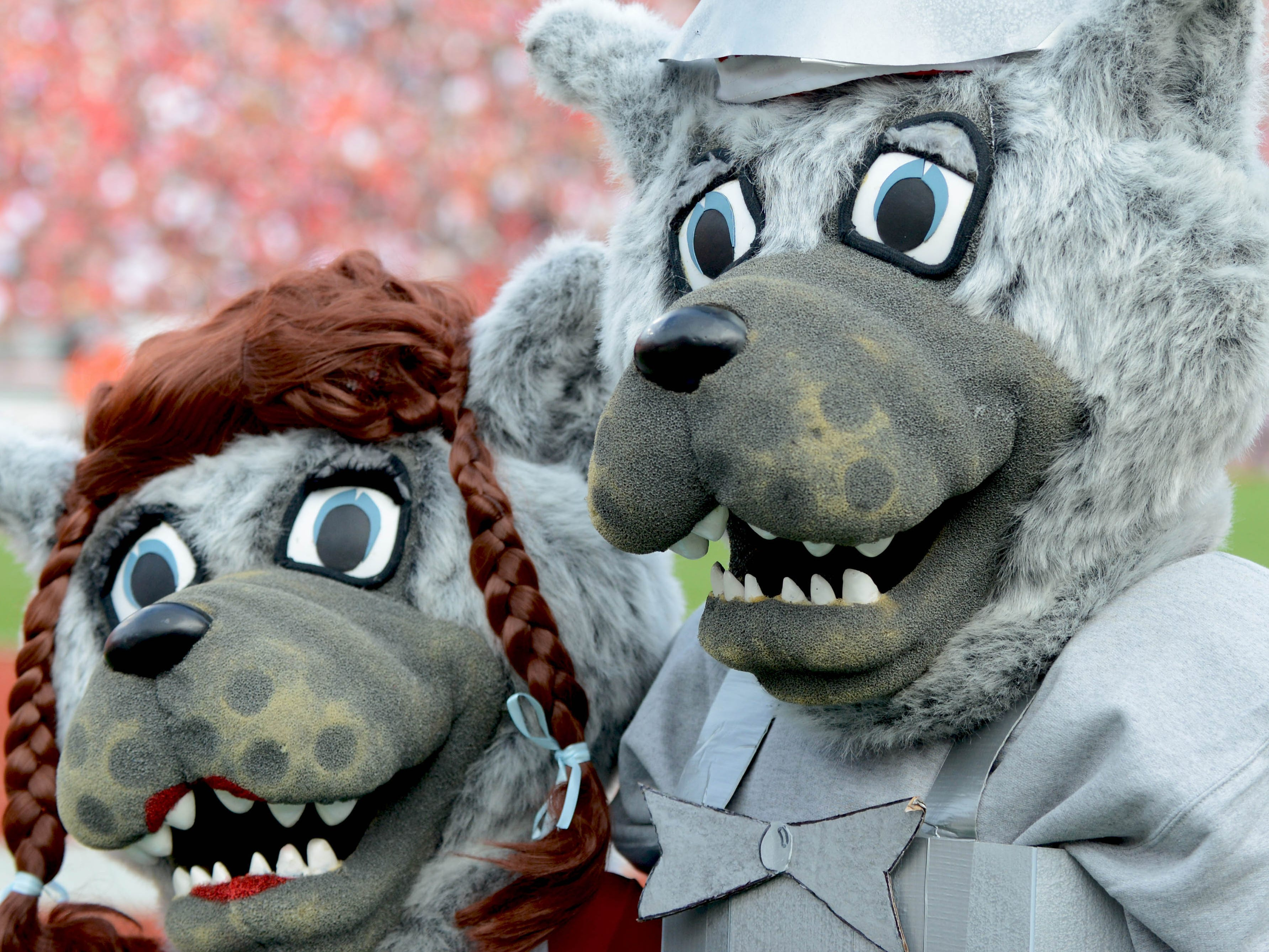 Dressing up as Dorothy and the Tinman doesn't make North Carolina State Wolfpack mascots any less scary.