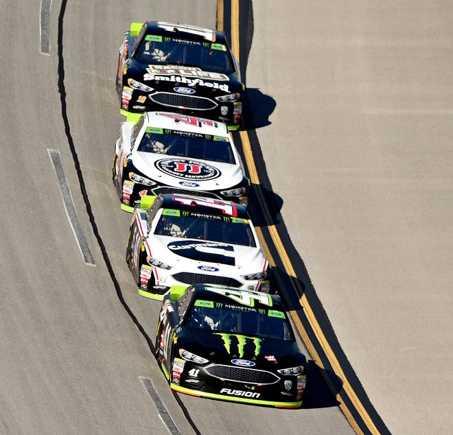 (From front to back) Kurt Busch, Clint Bowyer, Kevin Harvick and Aric Almirola each advanced to the Round of 8 for Stewart-Haas Racing.