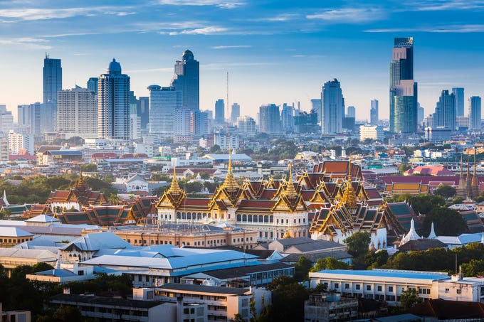 Grand Palace in Bangkok, Thailand: One of Bangkok's main attractions, the Grand Palace sits at the heart of the city, piercing the skyline with its eye-catching golden spires. For 150 years, this castle was the main residence of the Thai king, who lived in an inner complex that functioned like a small city.