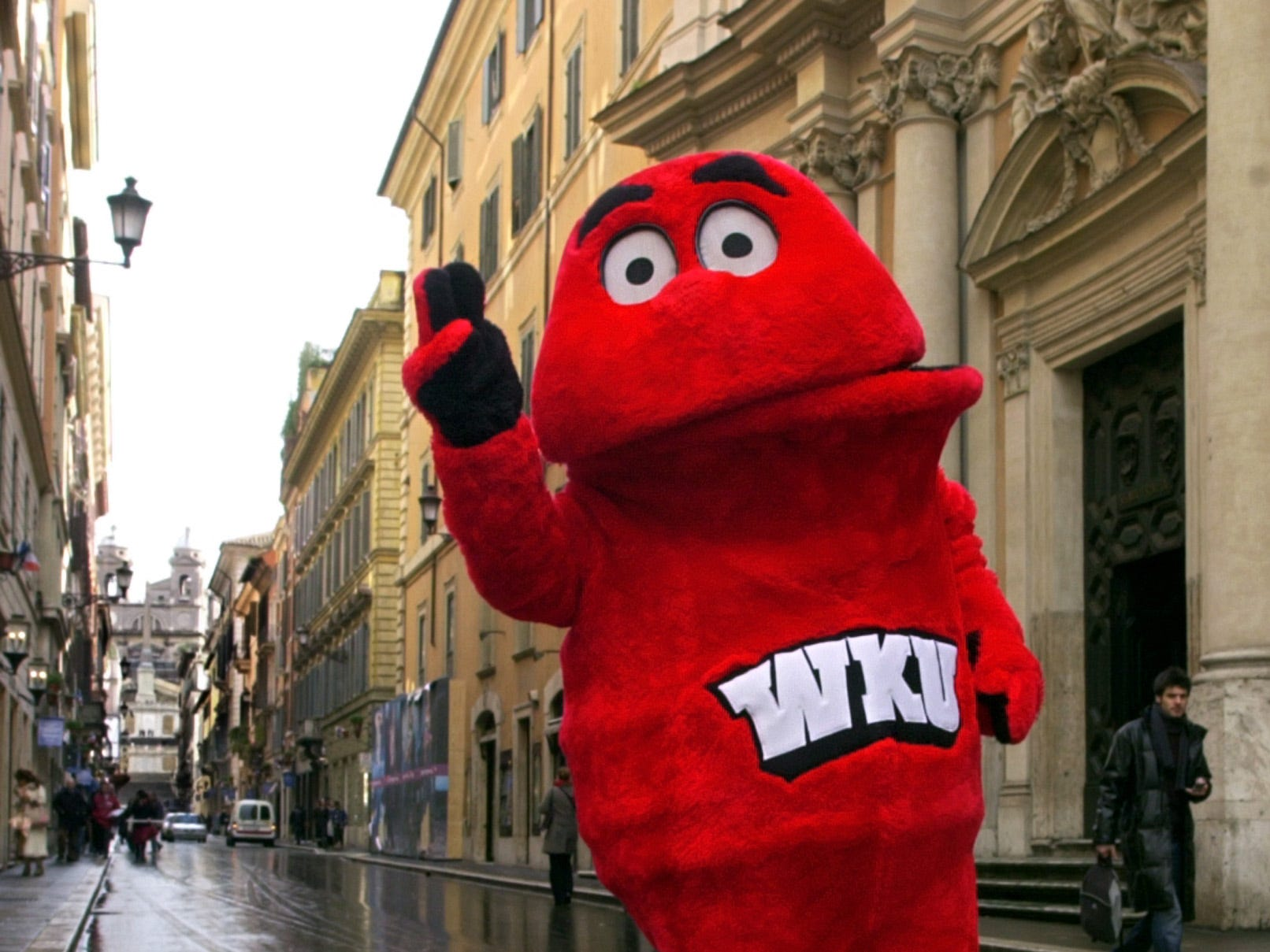 Western Kentucky's Big Red is a ghostly blob of character with a Humpty Dumpty shape, a chubby torso, dead and soulless eyes.